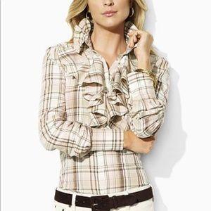 Ralph Lauren plaid ruffle shirt